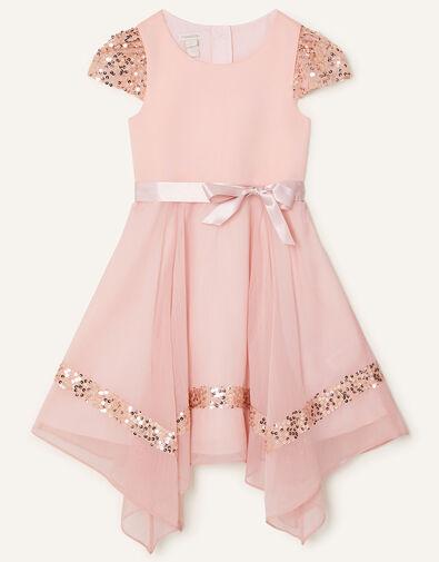 Olivia Sequin Hanky Hem Dress Pink, Pink (PINK), large