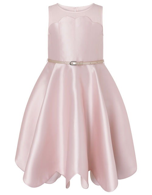 Shelley Scallop Dress with Belt, Pink (PINK), large