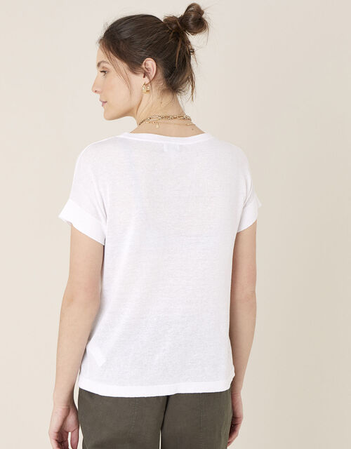 Knit T-Shirt in Linen Blend, Ivory (IVORY), large