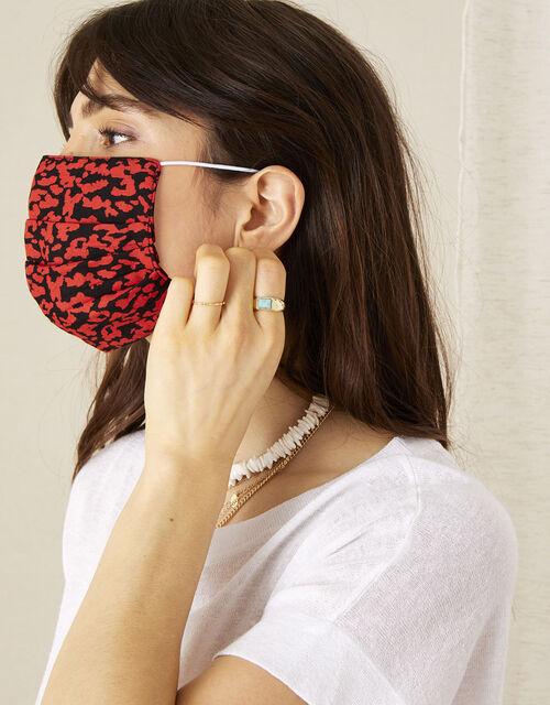 Animal Print Pleated Face Mask, , large