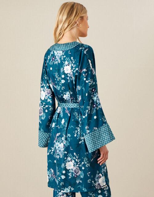 Floral Satin Robe, Teal (TEAL), large