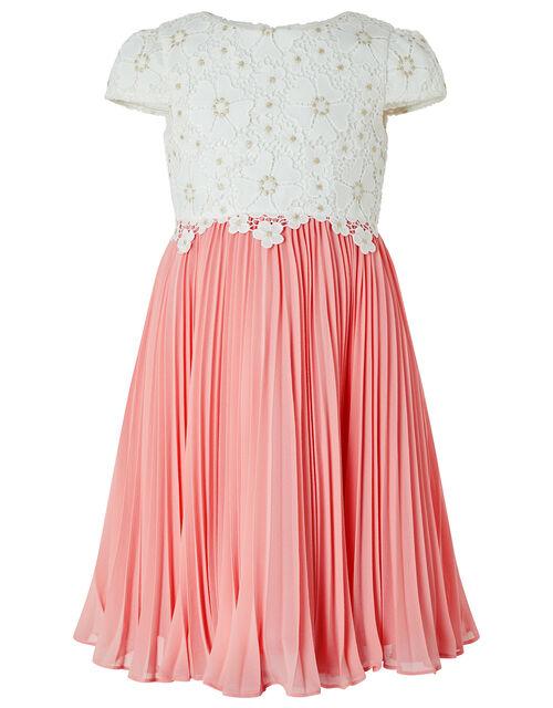 Freya Crochet Lace Dress with Pleated Skirt, Ivory (IVORY), large