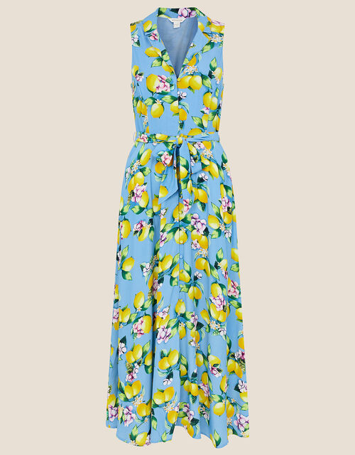 Libra Lemon Midi Dress, Blue (BLUE), large