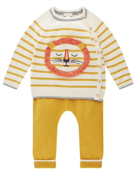 Newborn Baby Lion and Stripe Knit Set Yellow, Yellow (MUSTARD), large