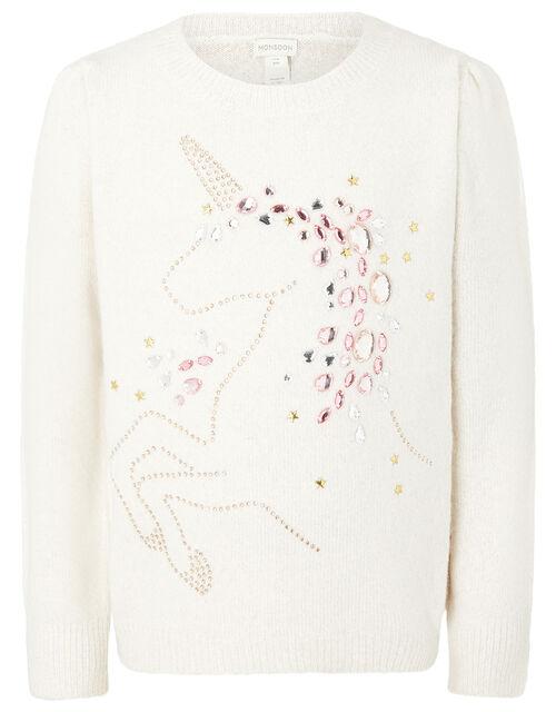 Embellished Unicorn Knit Jumper, Ivory (IVORY), large