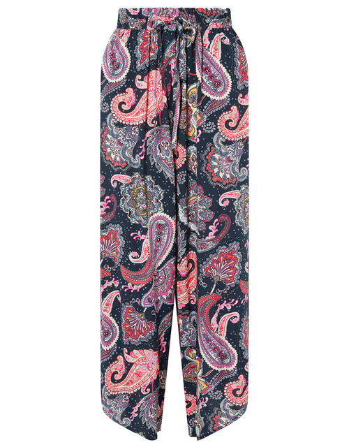 Paisley Cropped Trousers in LENZING™ ECOVERO™, Blue (NAVY), large