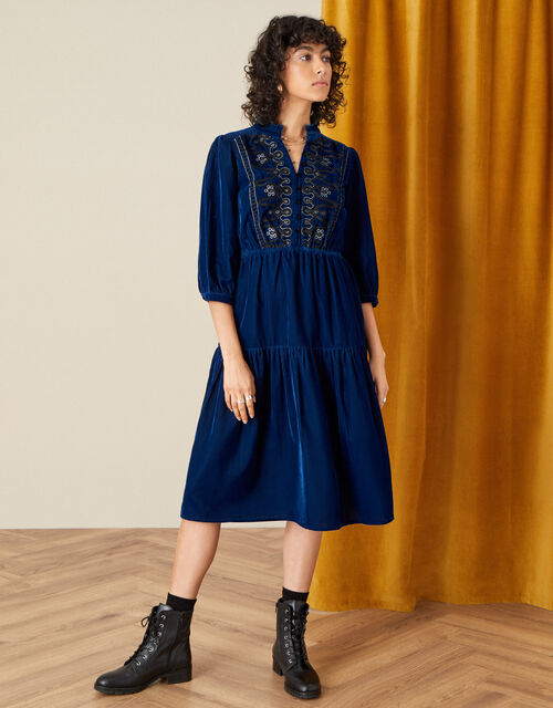 Military Embroidered Velvet Dress, Blue (BLUE), large
