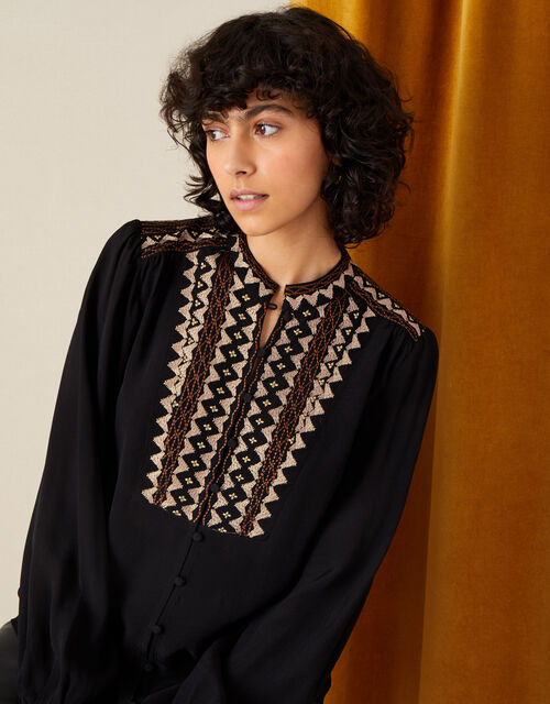 Embroidered Long Sleeve Blouse , Black (BLACK), large
