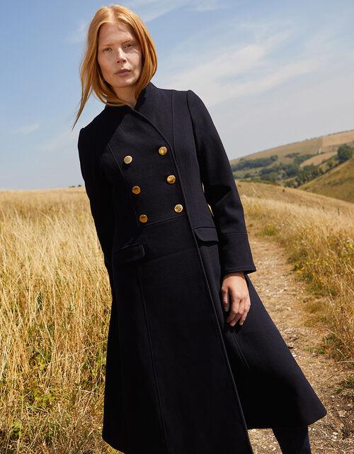 Rosaline Long Military Coat in Wool Blend, Blue (NAVY), large