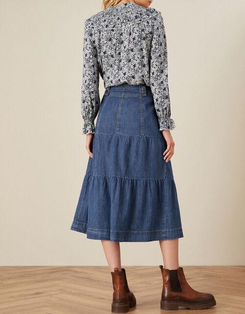 Tiered Denim Midi Skirt, Blue (DENIM BLUE), large