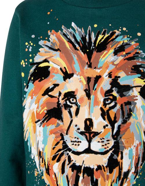Lion Print Sweatshirt, Green (GREEN), large