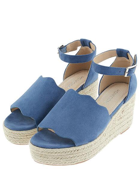 Savannah Scallop Wedge Heel Sandals Blue, Blue (BLUE), large