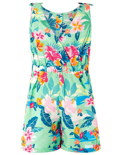 Petunia Floral Playsuit in Linen and Organic Cotton, Blue (AQUA), large