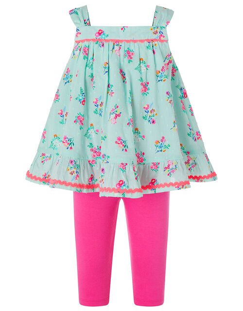 Baby Grace Floral Top and Legging Set in Organic Cotton, Blue (AQUA), large