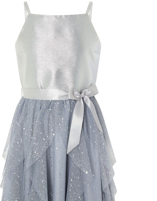 Ruffle Maxi Prom Dress, Silver (SILVER), large