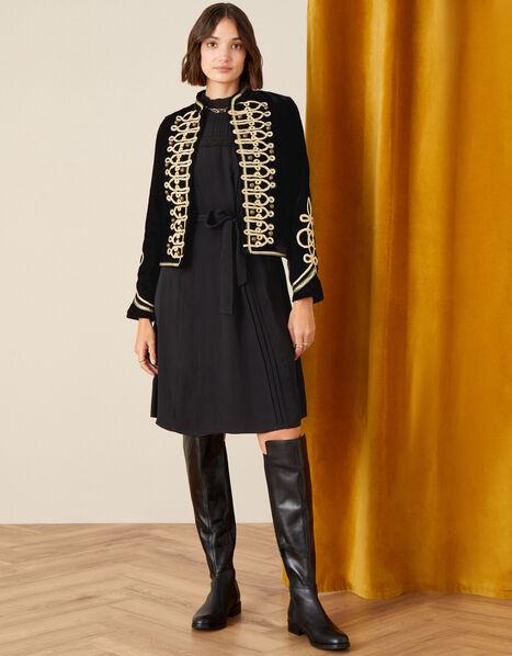 Embroidered Velvet Military Jacket Black, Black (BLACK), large