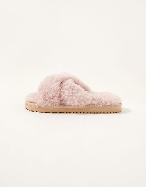 Cross Strap Fluffy Sliders, Pink (PINK), large