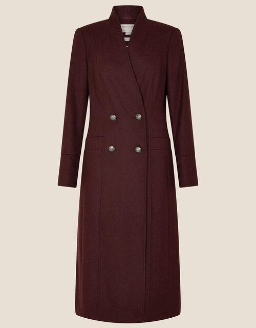 Joey Long Coat in Wool Blend, Purple (PLUM), large