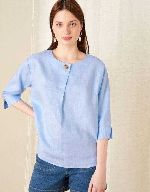Longline Top in Pure Linen, Blue (BLUE), large