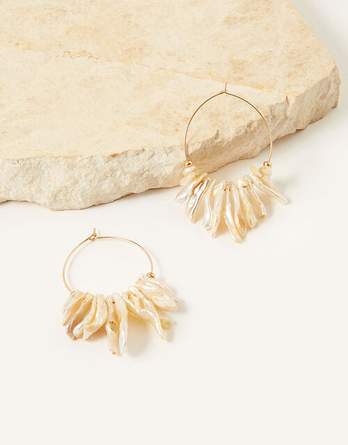 Regan Shell Hoop Earrings, , large