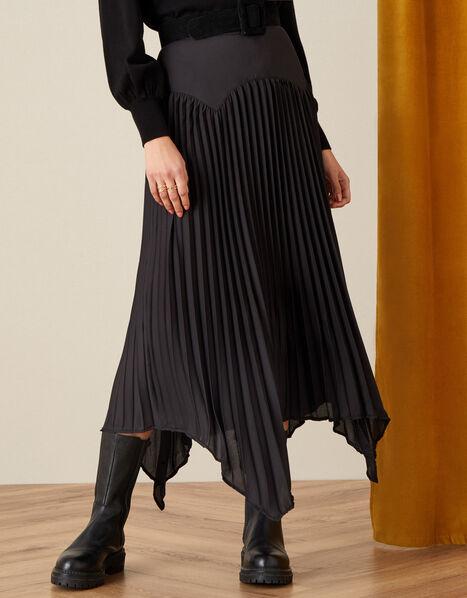 Pleated Handkerchief Hem Midi Skirt  Black, Black (BLACK), large