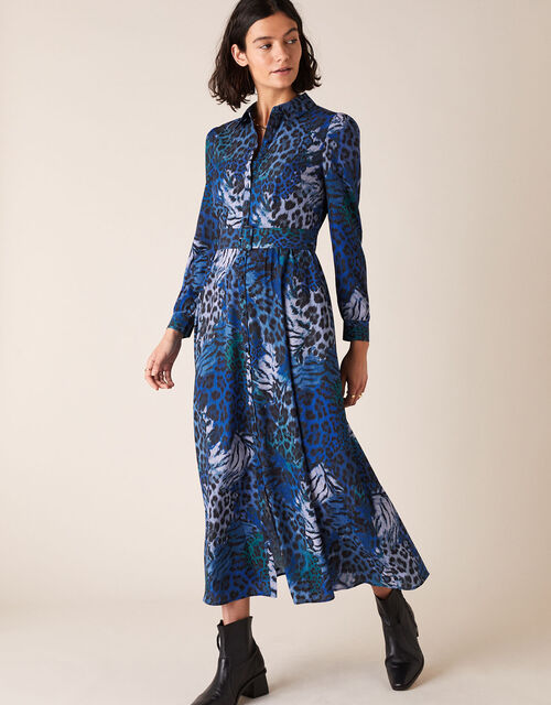 Andrea Animal Print Shirt Dress, Blue (COBALT), large