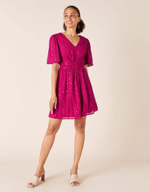 Peyton Sequin Short Dress, Pink (PINK), large