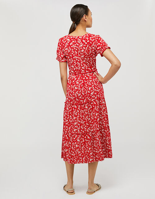 Natty Ditsy Floral Midi Dress, Red (RED), large