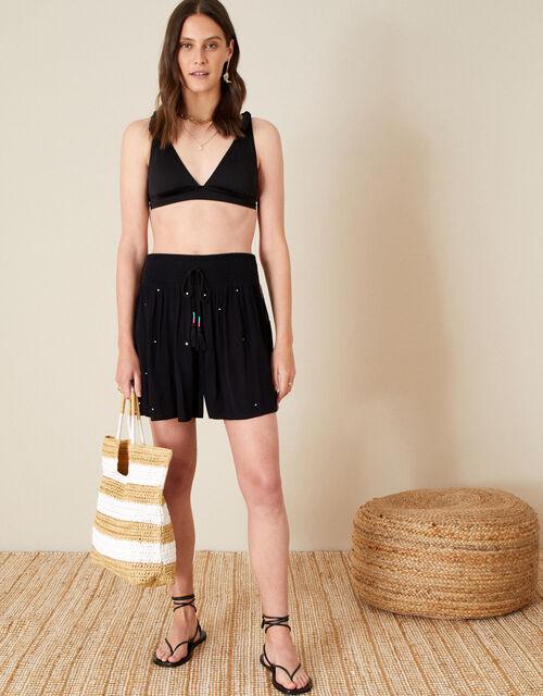 Mirrorwork Embroidered Shorts, Black (BLACK), large