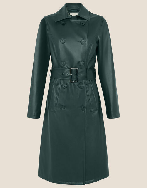 Phoebe PU Trench Coat, Teal (TEAL), large