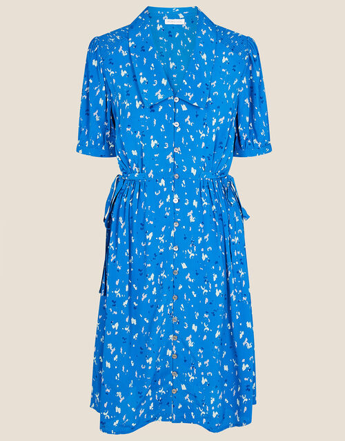 Animal Print Shirt Dress, Blue (COBALT), large