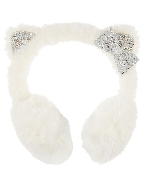 Sparkle Fluffy Cat Earmuffs, , large