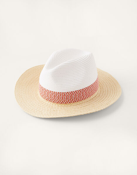 Colourblock Straw Fedora Hat, , large
