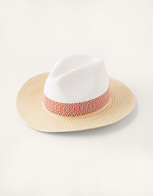 Colourblock Straw Fedora Hat, , large