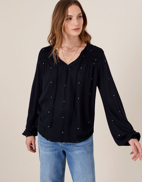 Embroidered Long Sleeve Blouse in LENZING™ ECOVERO™ Blue, Blue (NAVY), large