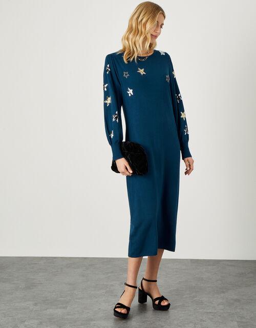 Embellished Sequin Star Dress , Teal (TEAL), large