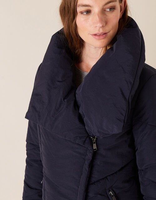 Dhalia Short Padded Coat in Recycled Fabric, Blue (NAVY), large