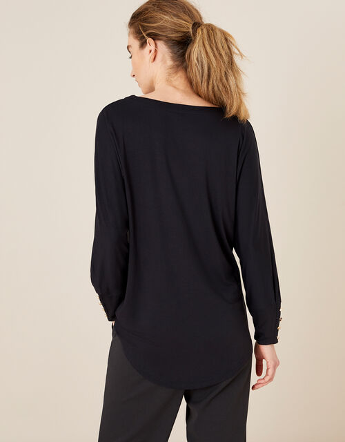 LOUNGE Button Cuff Longline Jersey Top, Grey (CHARCOAL), large