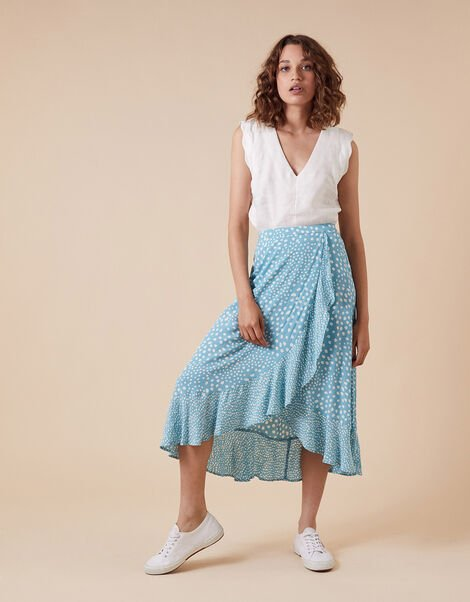Spot Print Wrap Skirt in Sustainable Viscose Blue, Blue (BLUE), large
