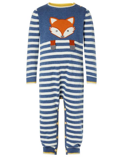 Newborn Baby Fox Sleepsuit in Organic Cotton, Blue (BLUE), large