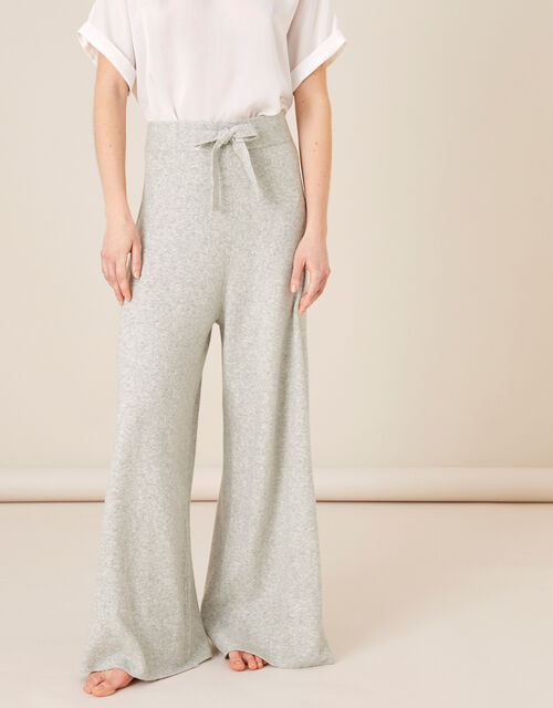 Wide-Leg Knit Lounge Trousers , Grey (GREY), large