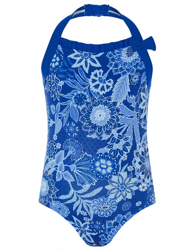 Flower Print Halter Swimsuit Blue, Blue (BLUE), large