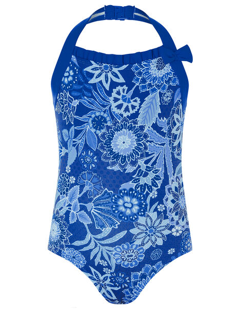 Flower Print Halter Swimsuit Blue, Blue (BLUE), large