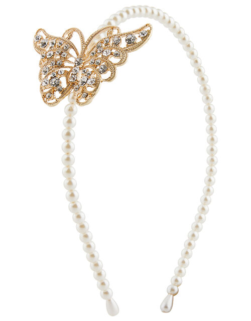 Diamante Butterfly Headband, , large