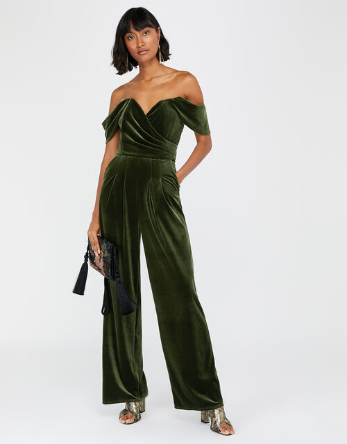 Barbara Bardot Velvet Jumpsuit, Green (KHAKI), large