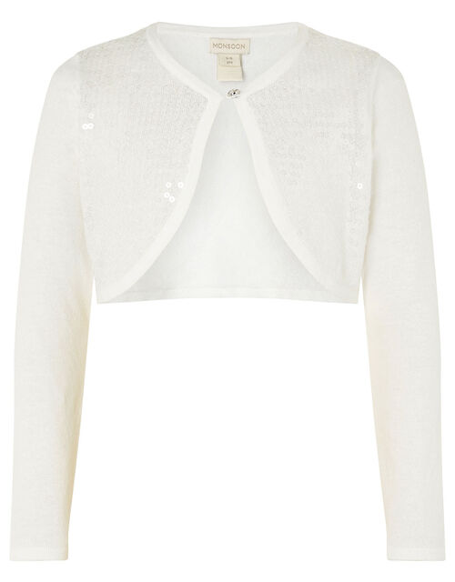 Sequin Crop Cardigan, Ivory (IVORY), large