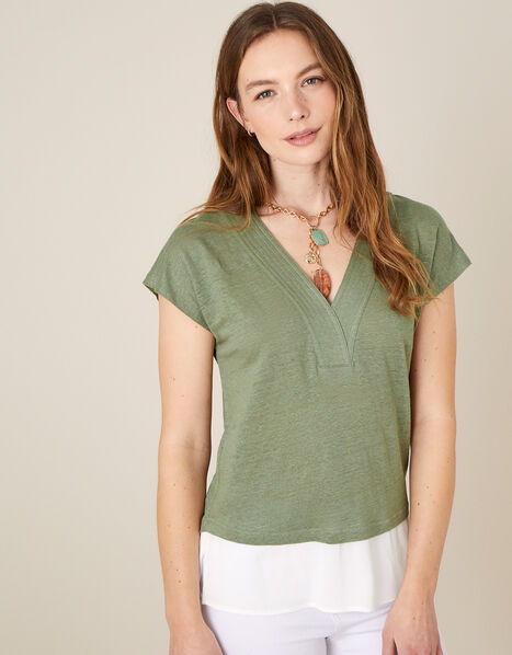 Lenny Woven Mix Top in Linen Blend Green, Green (KHAKI), large