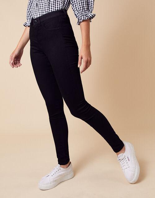 Nadine Short Length Jeans with Organic Cotton, Black (BLACK), large
