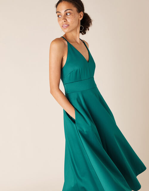Stevie Structured Cross-Strap Midi Dress, Teal (TEAL), large