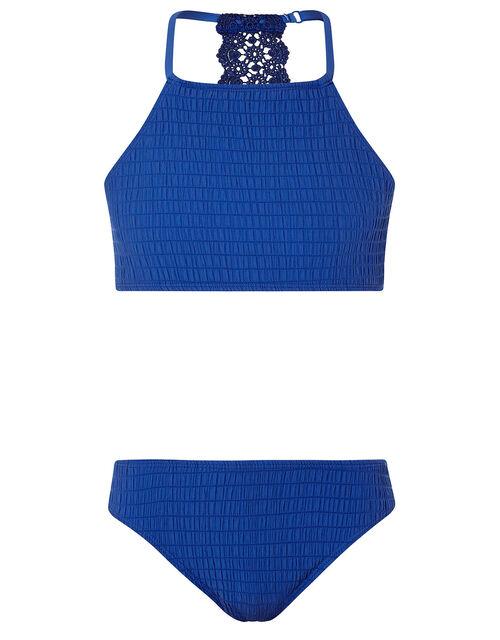 Crochet Insert Shirred Bikini Set, Blue (BLUE), large